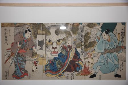 歌川国芳 東海道岡部宿猫石由来之図.JPG